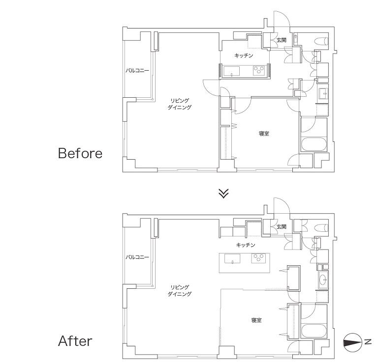 ヘリンボーン張りのワンルームと格子戸の寝室