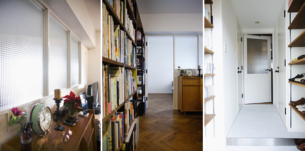 ガラスの建具で個室を仕切り、採光と抜けを保つ